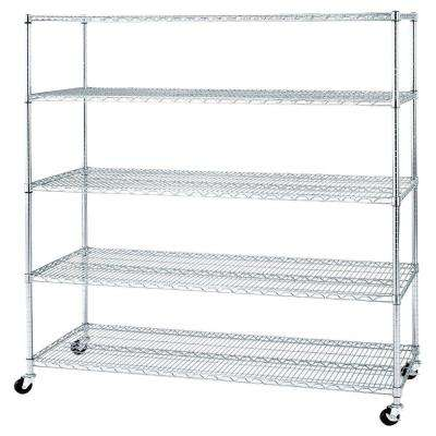 72 in. x 60 in. x 24 in. 5-Shelf UltraZinc Steel Wire Shelving System with Casters/Wheels