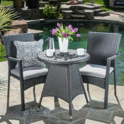 Gray 3-Piece Wicker Round Outdoor Dining Set with Gray Cushion
