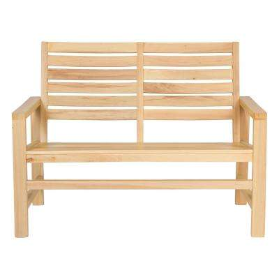 40 in. Contemporary Wood Outdoor Garden Bench in Vanilla