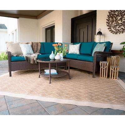 Bessemer 5-Piece Wicker Outdoor Sectional Set with Peacock Cushions