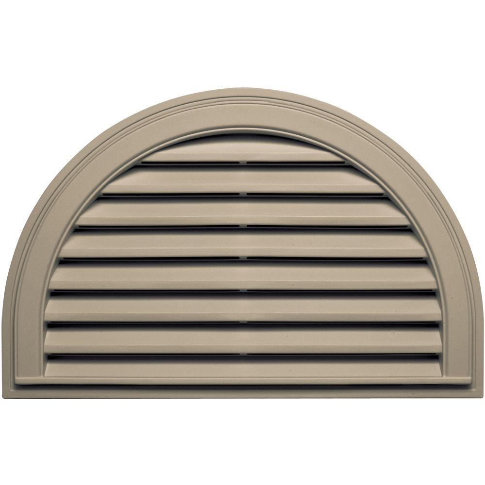 22 in. x 34 in. Half Round Gable Vent in Clay