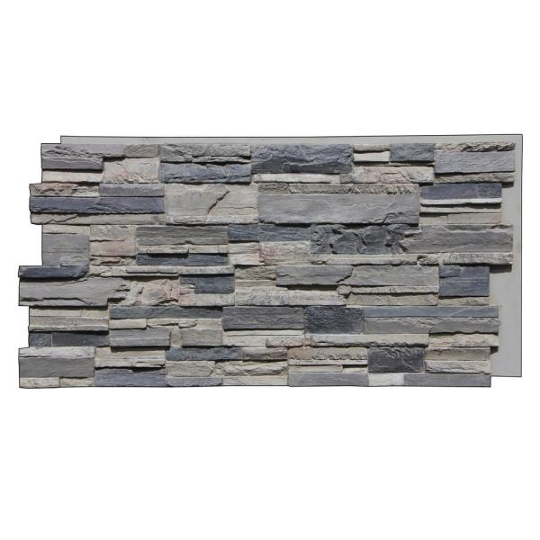 Earth Valley Faux Stone 48-3/4 in. x 24-3/4 in. Gray Fox Class A Fire Rated Urethane Interlocking Panel