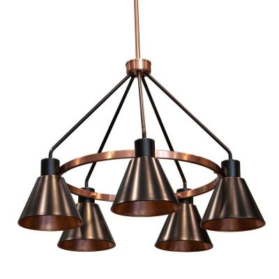 Carly 5-Light Antique Brass and Black Iron Metal Chandelier