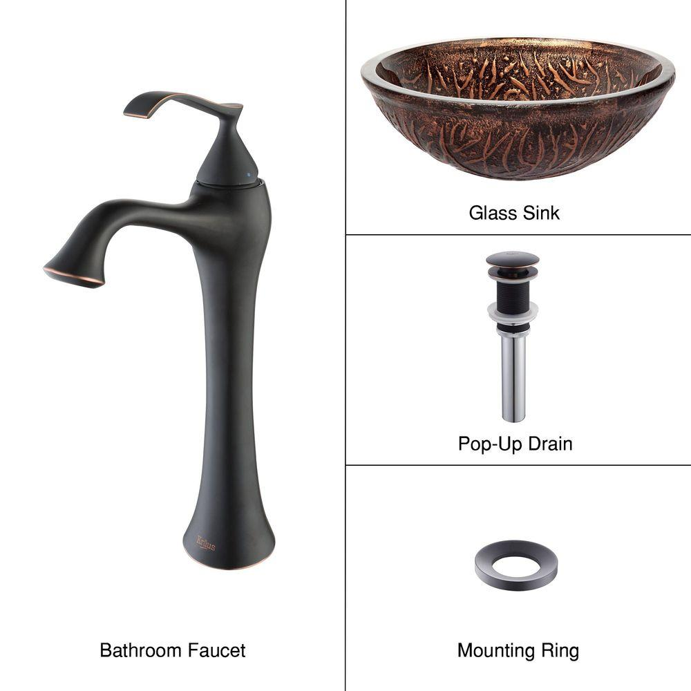 KRAUS Vessel Sink in Copper Forest with Ventus Faucet in Oil Rubbed Bronze-DISCONTINUED