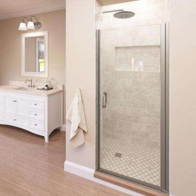 Infinity 34 in. x 65-9/16 in. Semi-Frameless Hinged Shower Door in Brushed Nickel with AquaGlideXP Clear Glass