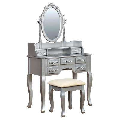 Zehner 2-Piece Silver Oval Mirror Vanity Set