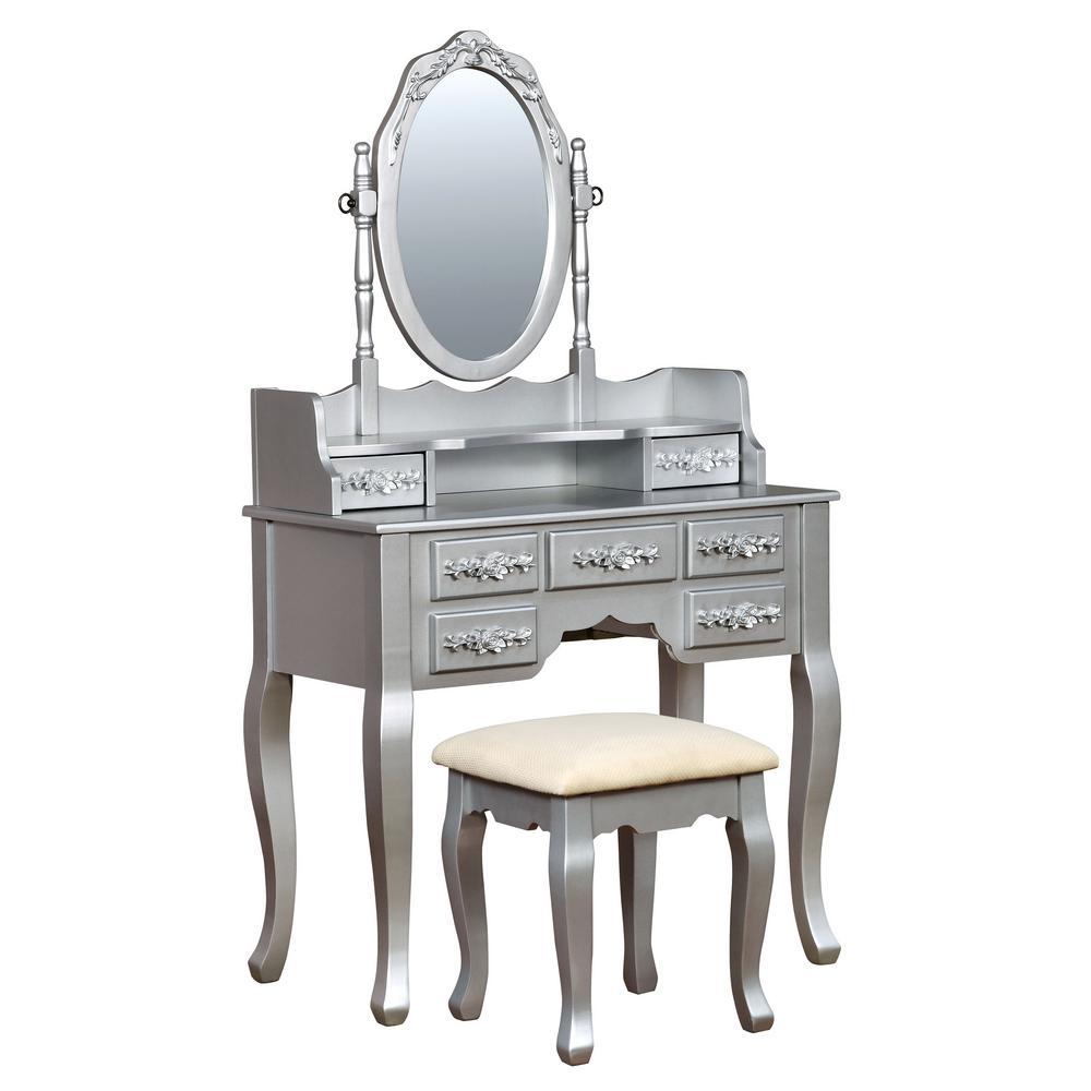 Furniture of America Zehner 2-Piece Silver Oval Mirror Vanity Set IDF-DK6845SV