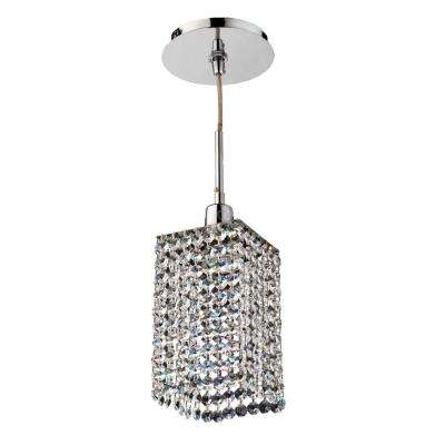 Fuzion X 1-Light Square Single Layer Crystal and Chrome Mini Pendant
