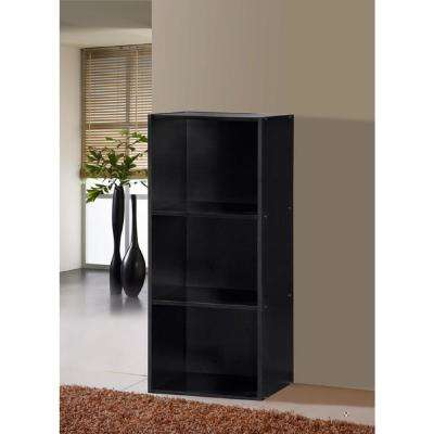 3-Shelf, 36 in. H Black Bookcase