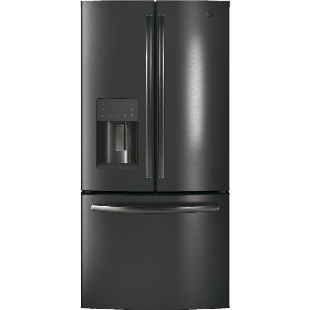 GE 17.5 cu. ft. French Door Refrigerator in Black Stainless Steel, Counter Depth and Fingerprint Resistant