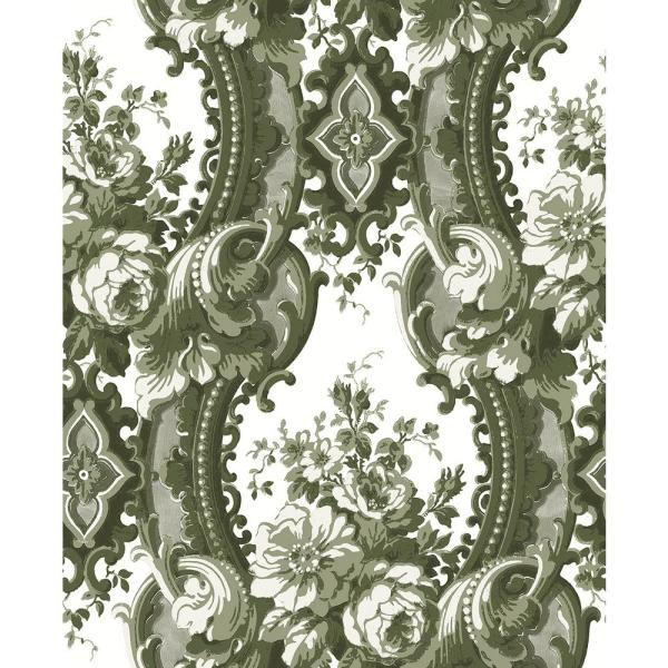 A-Street 56.4 sq. ft. Dreamer Green Damask Wallpaper 2763-24215