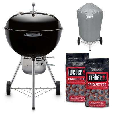 22 in. Original Kettle Premium Charcoal Grill in Black Combo with Grill Cover and 2-Bags of Weber Charcoal Briquettes