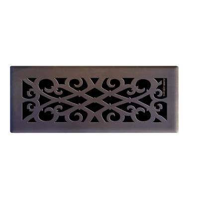 4 in. x 12 in. Elegant Scroll Floor Register in Oil Rubbed Bronze