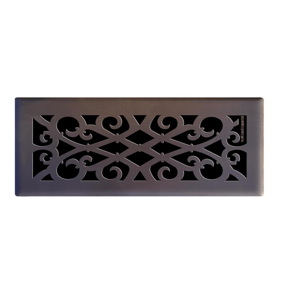 Elegant Scroll 4 in. x 12 in. Steel Floor Register in Oil Rubbed Bronze