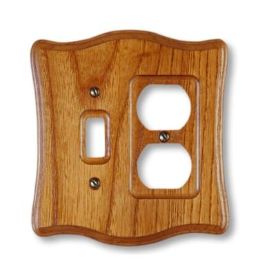 Austin 2 Gang 1-Toggle and 1-Duplex Wood Wall Plate - Tavern Oak