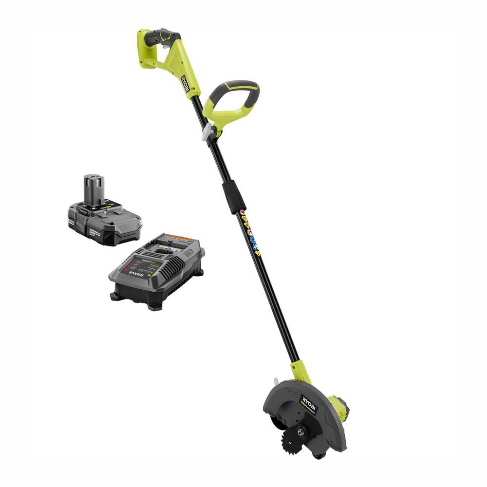 RYOBI ONE+ 9 in  18-Volt Lithium-Ion Cordless Edger - 1 3 Ah Battery and  Charger Included