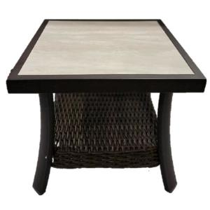 Whitfield 23 in. Square Dark Brown Metal Outdoor Side Table with Tile Top