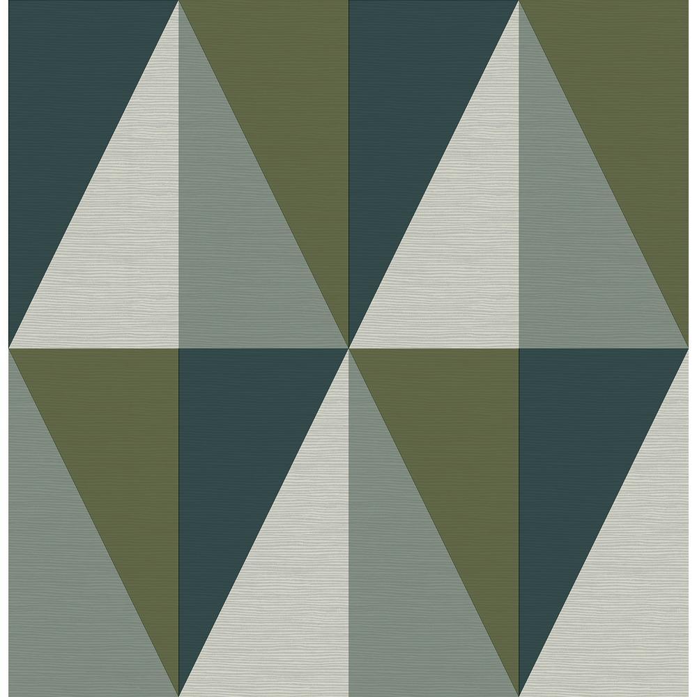A-Street Aspect Green Geometric Faux Grasscloth Wallpaper Sample 2902-25537SAM