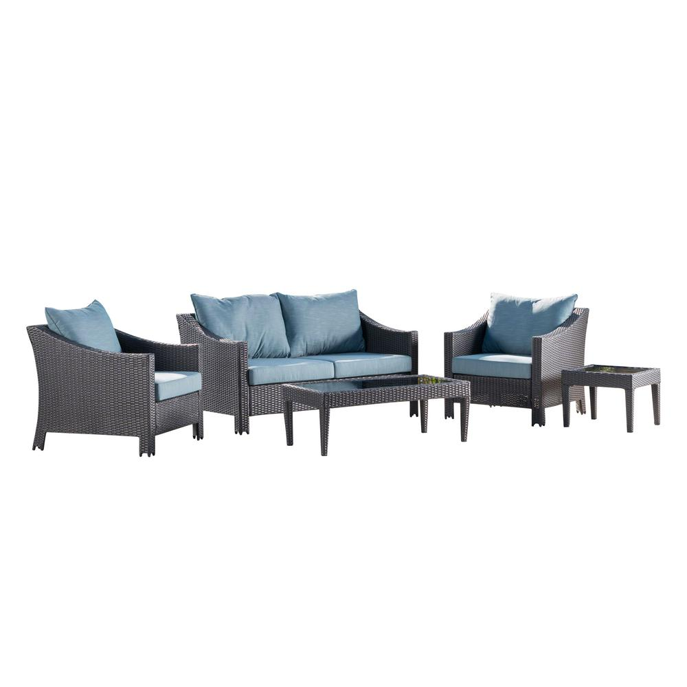 Noble House Antibes Gray 5-Piece Wicker Patio Conversation Set with Teal Cushions