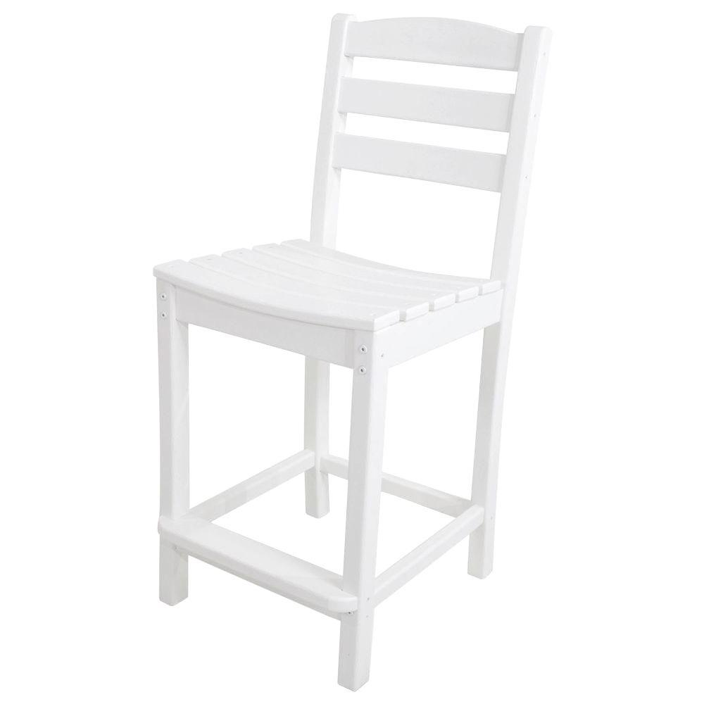 La Casa Cafe White Plastic Outdoor Patio Counter Side Chair
