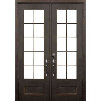 74 in. x 97.5 in. Key Largo Dark Bronze Right-Hand Inswing Painted Iron Prehung Front Door w/ Clear Glass & Hardware