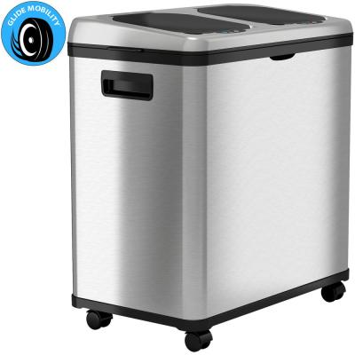 16 Gal. Dual-Compartment Stainless Steel Touchless Recycling Bin (8 Gal each)