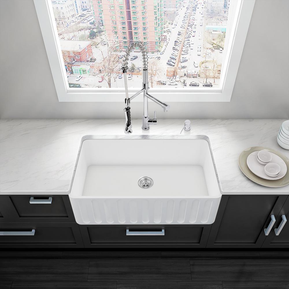 VIGO All-in-One Matte Stone Farmhouse 33 inch 0-Hole Kitchen Sink and Zurich Chrome Faucet Set by VIGO