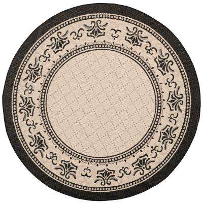 Courtyard Sand/Black 8 ft. x 8 ft. Indoor/Outdoor Round Area Rug
