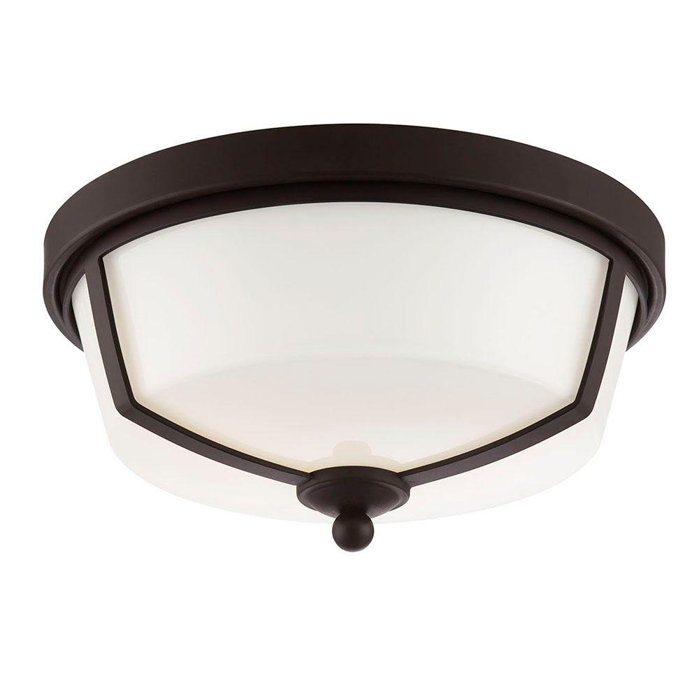 Kate Collection 2-Light Bronze LED Flushmount