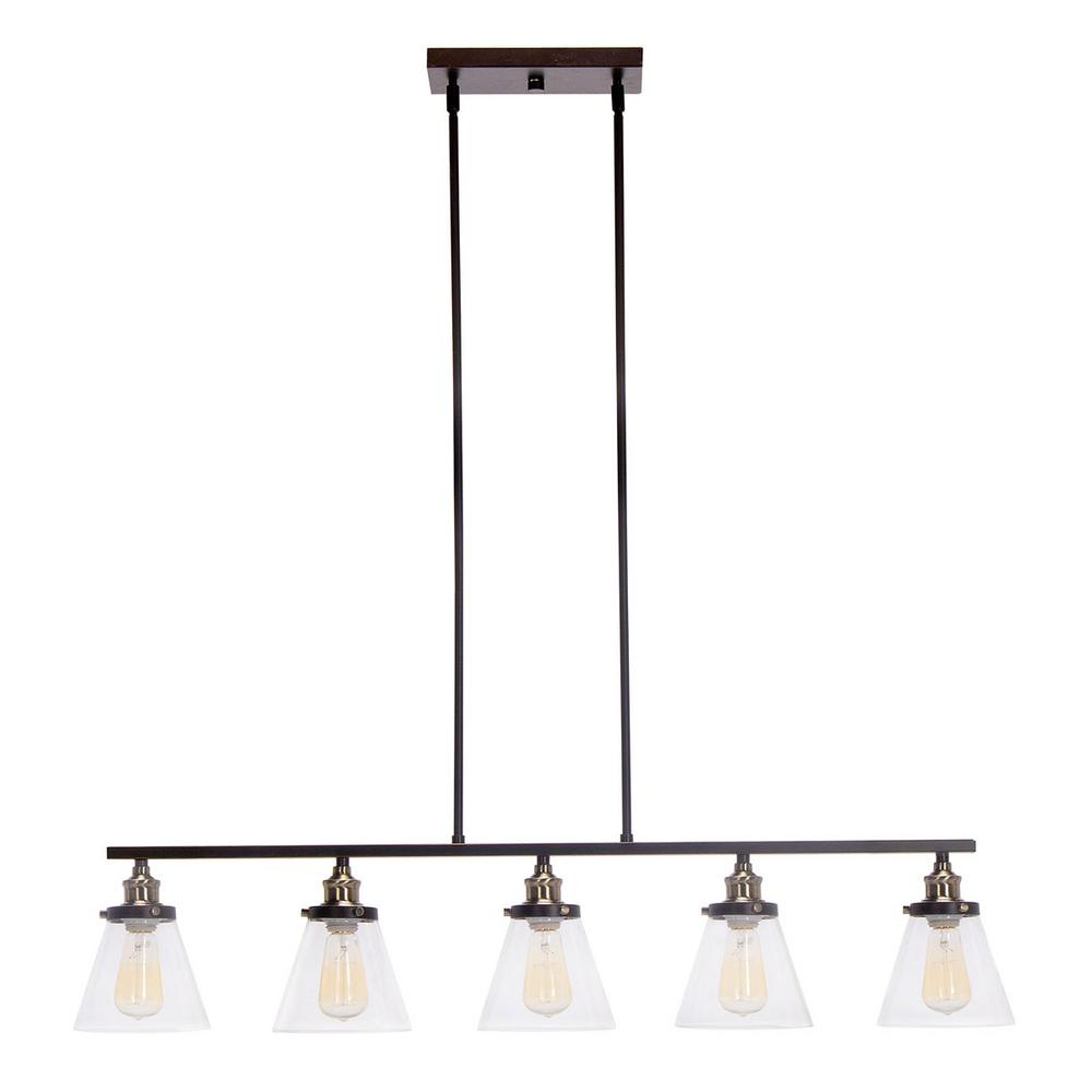 Globe Electric 5-Light Oil-Rubbed Bronze and Antique Brass Linear Industrial Pendant