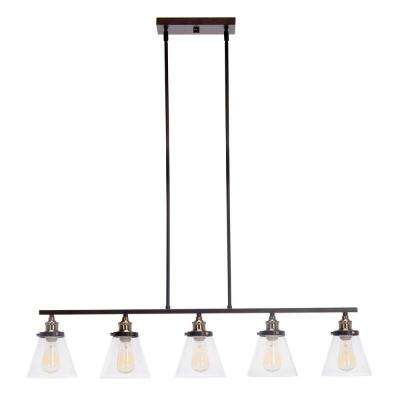 5-Light Oil-Rubbed Bronze and Antique Brass Linear Industrial Pendant