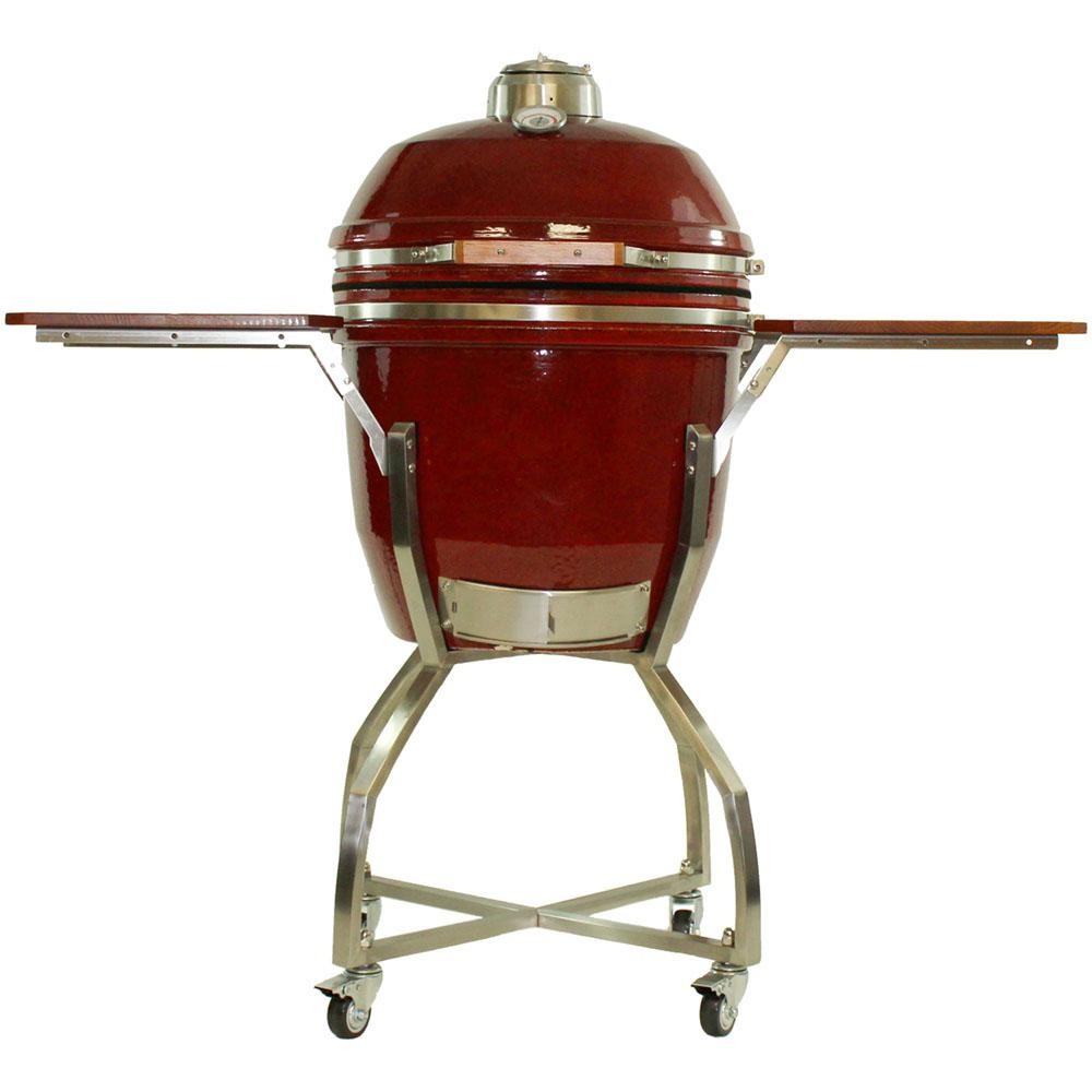 Hanover in ceramic kamado grill red with stainless