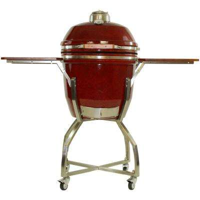 19 in. Ceramic Kamado Grill in Red with Stainless Steel Cart and Protective Cover