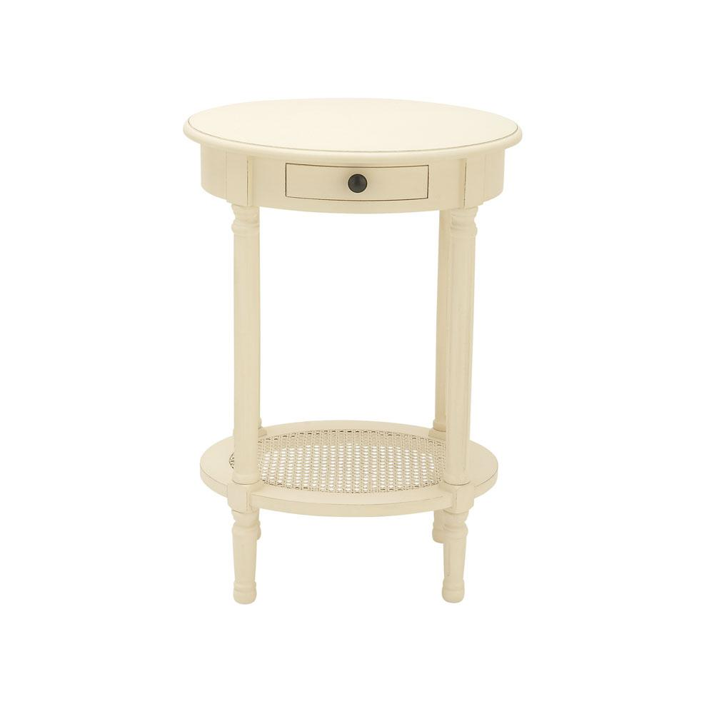 Cream White Wooden Round Accent Table-96383