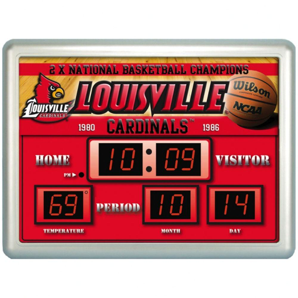 null University of Louisiville 14 in. x 19 in. Scoreboard Clock with Temperature