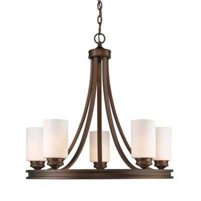 Holborn Collection 5-Light Bronze Opal Shade Chandelier