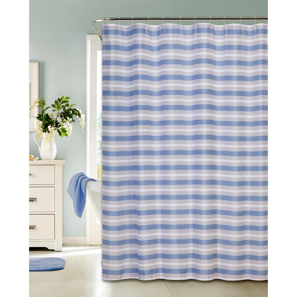 Printed Waffle 72 in. Blue Shower Curtain Classic Stripe Design with