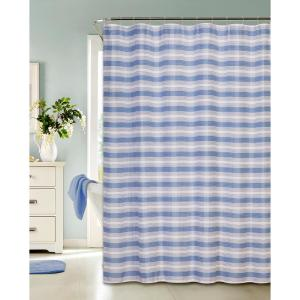 Printed Waffle 72 inch Blue Shower Curtain Classic Stripe Design with Hooks by