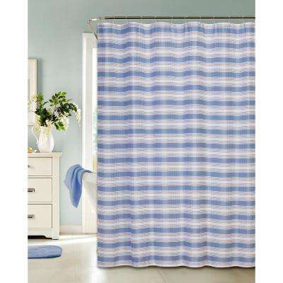 Printed Waffle 72 in. Blue Shower Curtain Classic Stripe Design with Hooks