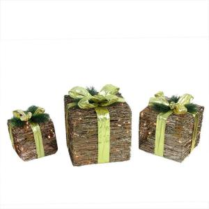 12 in. Christmas Decorations Lighted Natural Rattan and Glitter Gift Boxes (3-Pack)