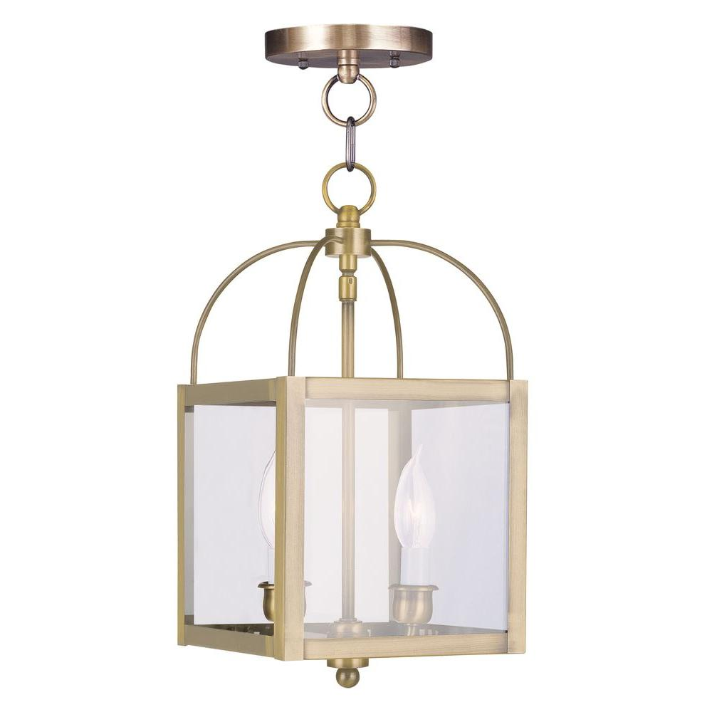 Livex Lighting 2-Light Antique Brass Pendant with Clear Glass Shade