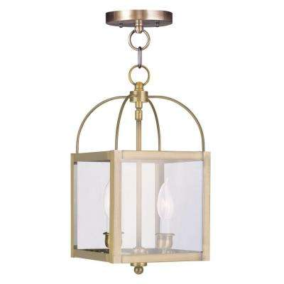 2-Light Antique Brass Pendant with Clear Glass Shade