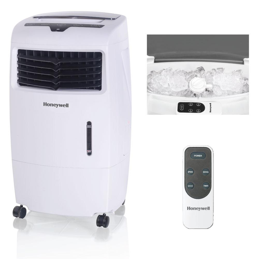 Honeywell 500 CFM 4-Speed Indoor Portable Evaporative Air Cooler (Swamp Cooler) with Remote Control for 300 sq. ft.