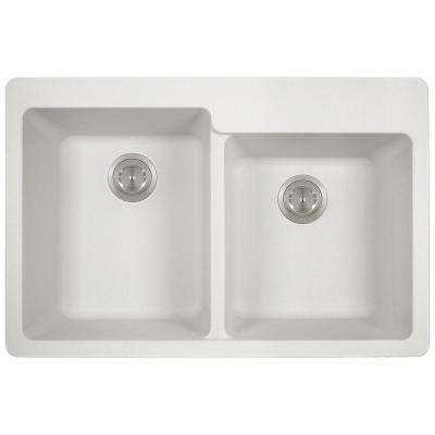 Drop-in Granite Composite 33 in. 3-Hole Offset Double Bowl Kitchen Sink in White