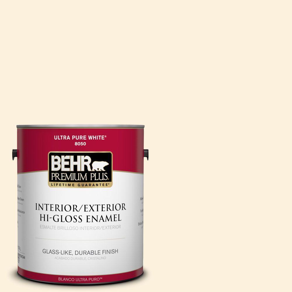 BEHR Premium Plus 1-gal. #320A-1 Eggnog Hi-Gloss Enamel Interior/Exterior Paint