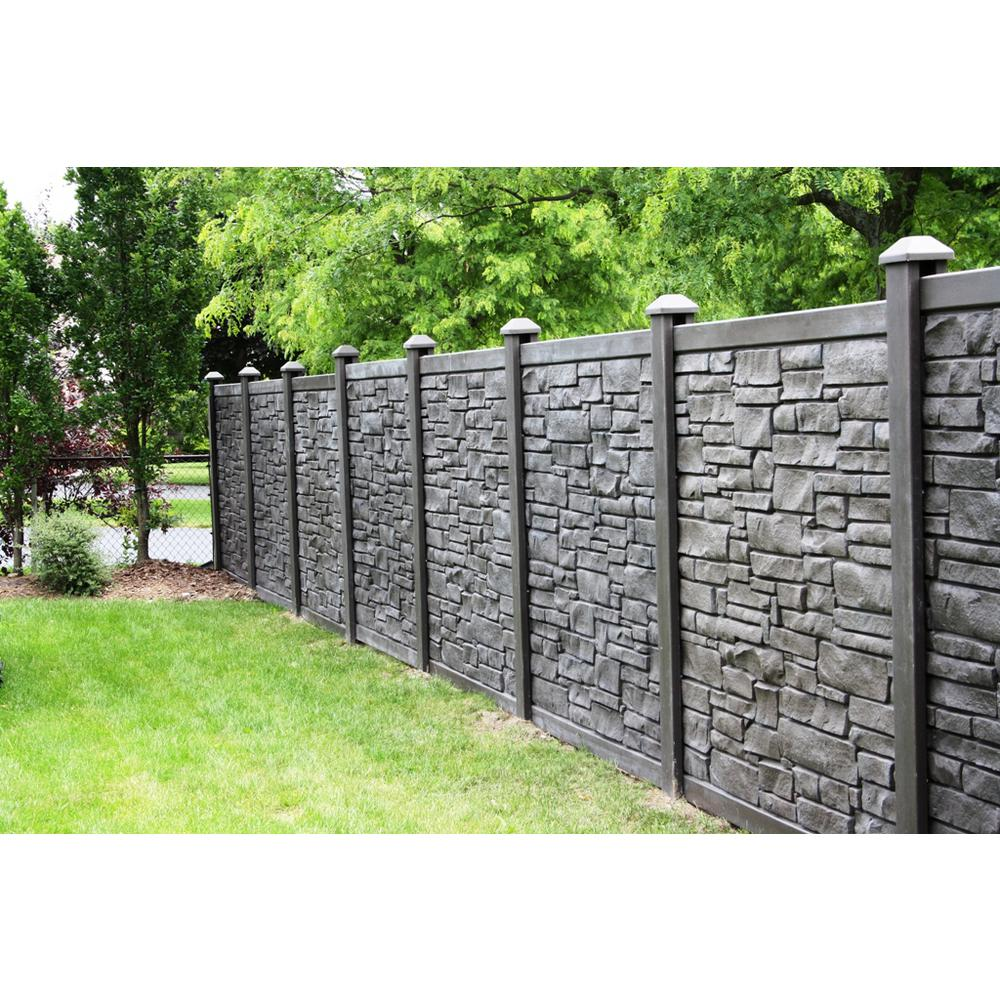 Simtek 6 Ft H X 6 Ft W Ecostone Dark Brown Composite Fence Panel