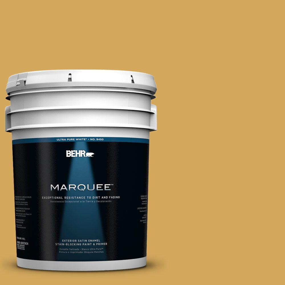 BEHR MARQUEE 5-gal. #340D-5 Galley Gold Satin Enamel Exterior Paint