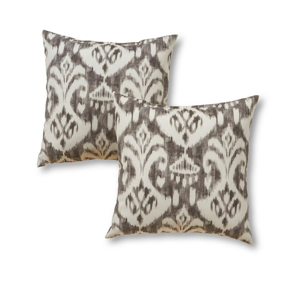 Greendale Home Fashions Graphite Ikat Square Outdoor Throw Pillow 2