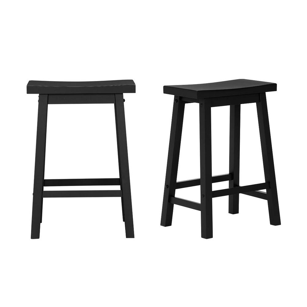 Stylewell Stylewell Black Wood Saddle Backless Counter Stool Set Of 2 16 33 In W X 24 In H Sh0202170sgh03 The Home Depot