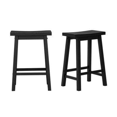 Awe Inspiring Stylewell Black Wood Saddle Backless Counter Stool Set Of 2 16 33 In W X 24 In H Machost Co Dining Chair Design Ideas Machostcouk